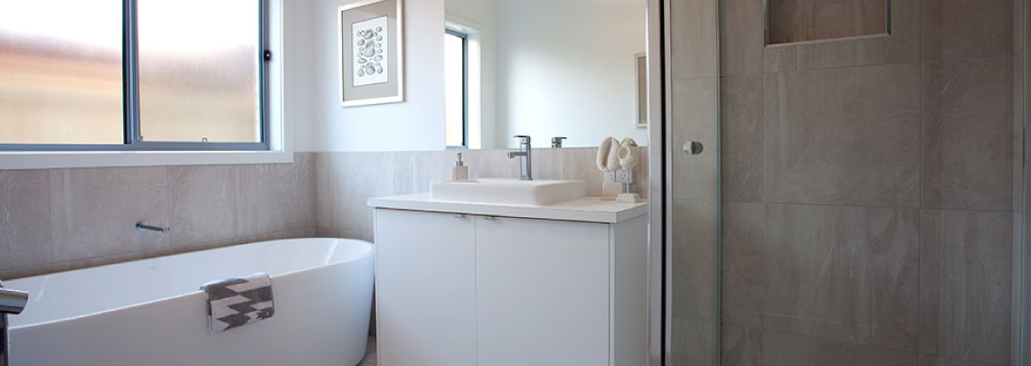 Neutral, modern bathroom