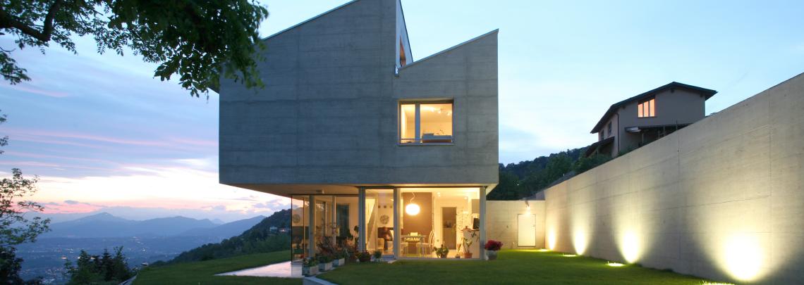 Modern house at dusk
